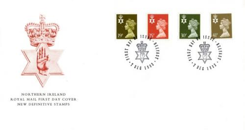 Northern Ireland 1993 7th December 19p,25p,30p,41p Belfast CDS royal mail cover