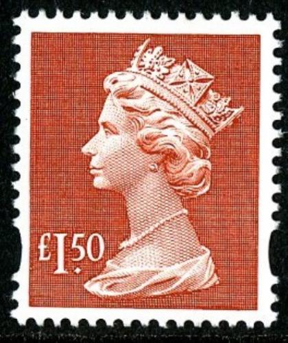 SG: 1800r £1.50p red Del La Rue reprint