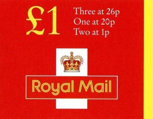 SG: FH41a £1 New Style 2x1p, 20p, 26px3 corrected 45p rate