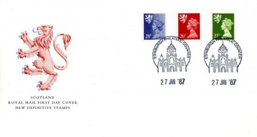 Scotland 1987 27th January 22p,26p,28p Edinburgh CDS royal mail cover
