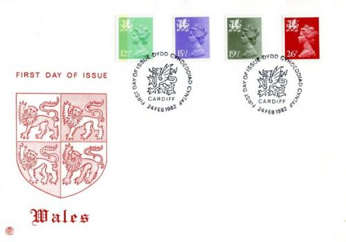Wales 1982 24th February 12½p,15½p,19½p,26p Cardiff CDS