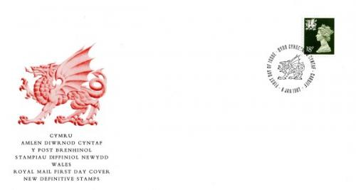 Wales 1987 6th January 18p Cardiff CDS royal mail cover