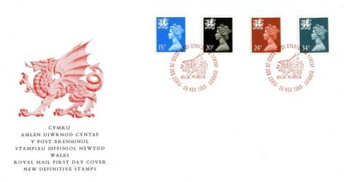 Wales 1989 28th November 15p,20p,24p,34p Cardiff CDS royal mail cover