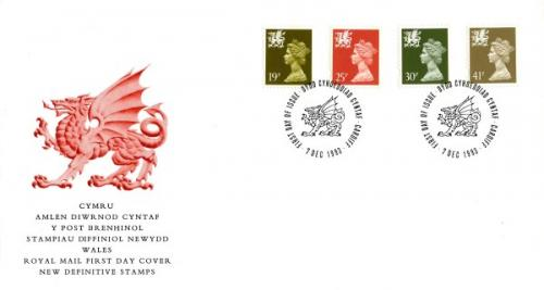 Wales 1993 7th December 19p,25p,30p,41p Cardiff CDS royal mail cover