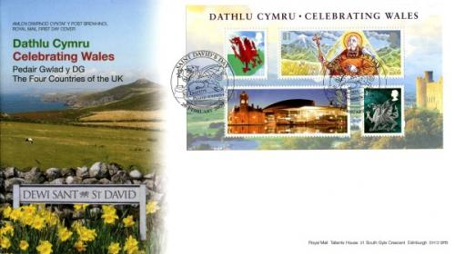 Wales 2009 26th February National Celebrating Wales St. Davids CDS royal mail cover