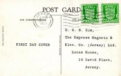 1942 29th January ½d bright green x2 post card. On front is a picture of St. Brelades Bay Jersy. ACTUAL ITEM
