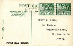 1943 1st June ½d green x2 postcard with St. Hellier Jersey on the front ACTUAL ITEM