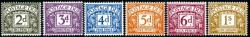 SG: D69-D74 1968 set of 6 typo postage dues