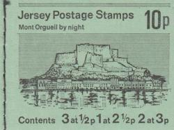 1975 10p Mount Orgueil margin at top ( SB11a)