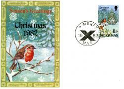 1982 Christmas Card with First Day of Issue cancellation