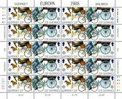 1988 22p Europa Transport Stamp Sheet
