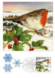 1995 Christmas Card with First Day of Issue cancellation
