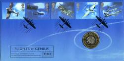 1997 British Aircraft Designers coin cover with £2 coin - cat value £20