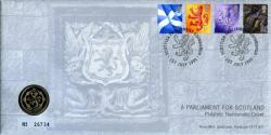 1999 The Scottish Parliament coin cover with £1 coin - rare coin