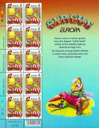 2002 27p Europa The Circus Stamp Sheet