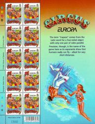 2002 36p Europa The Circus Stamp Sheet