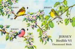 2012 Jersey Wildlife Threatened Birds 3 x stamps MS