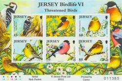 2012 Jersey Wildlife Threatened Birds 6 x stamps MS