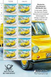 2013 International 20g Europa Post Office Vehicles Stamp Sheet
