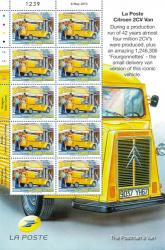 2013 Local Large Europa Post Office Vehicles Stamp Sheet