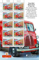 2013 UK Letter Europa Post Office Vehicles Stamp Sheet