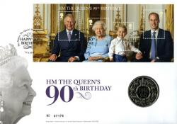 2016 Queen's 90th Birthday coin cover with £5 coin