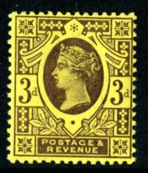 SG203   3d deep purple/yellow 1887 Jubilee