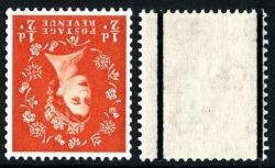 SG 587wi ½d orange watermark inverted