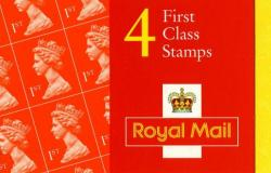 SG: BH14 NVI 4x1st reissued with 'Please note first class is no longer valid in Europe'