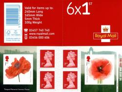 SG: PM63  2018 6 x 1st Great War Poppies